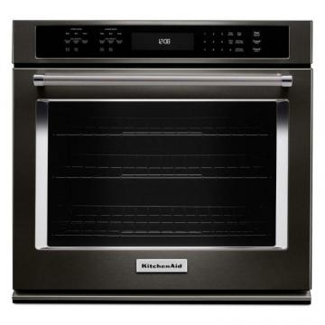 "KitchenAid Black Stainless, 30"" Single Wall Oven With Even-Heat True Convection"