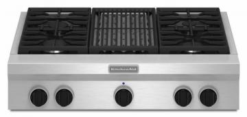 "KitchenAid 36"" Commercial-Style Gas Rangetop with Even-Heat Grill in Stainless Steel"
