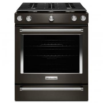 "KitchenAid Black Stainless, 30"" 5-Burner Gas Slide-In Convection Range"