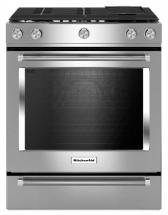 KitchenAid 6.5 cu. ft. 5 Burner Slide-In Gas Convection Range with Baking Drawer in Stainless Steel