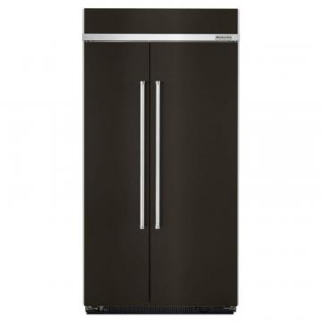 "KitchenAid 25.5 Cu. Feet 42"" Width, Black Stainless, Built-In Side By Side Refrigerator"