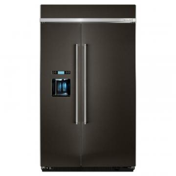"KitchenAid 29.5 Cu. Ft 48"" Black Stainless, Built-In Side By Side Refrigerator"
