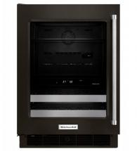 "KitchenAid 24"" Black Stainless Steel Beverage Center With Satinglide Metal-Front Racks"