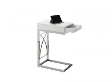 Monarch Accent Table - Chrome Metal / Glossy White With A Drawer