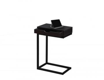 Monarch Accent Table - Cappuccino / Black Metal With A Drawer