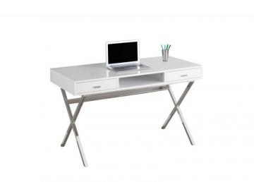 "Monarch Computer Desk - 48"" L / Glossy White / Chrome Metal"