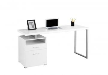 "Monarch Computer Desk - 60"" L / White / Silver Metal"