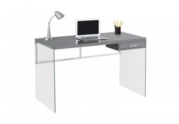 "Monarch Computer Desk - 48"" L / Glossy Grey / Tempered Glass"
