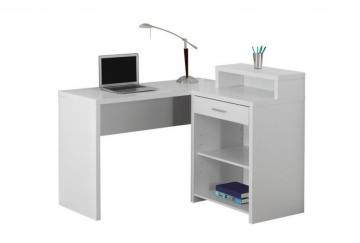 Monarch Computer Desk - White Corner With Storage