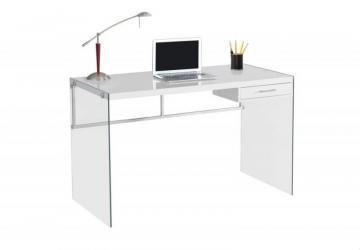 "Monarch Computer Desk - 48"" L / Glossy White / Tempered Glass"