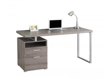 "Monarch Computer Desk - 60"" L / Dark Taupe / Silver Metal"