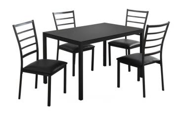Monarch Dining Set - 5Pcs Set / Black Metal /Black Tempered Glass