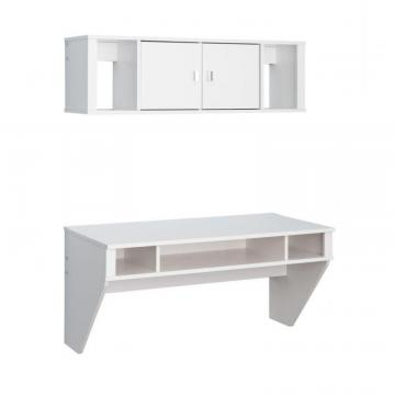 Prepac Designer Floating Desk & Hutch Set In White
