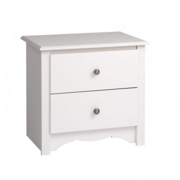 Prepac White Monterey 2 Drawer Nightstand