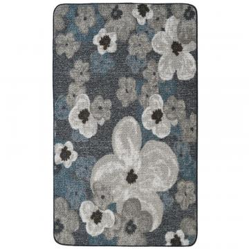 Lanart Grey Flowers Mat - 2' x 4'