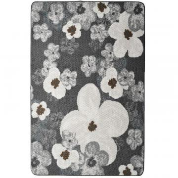 "Lanart Grey Flowers Mat - 3' 4"" x 5'"