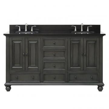 "Avanity Thompson 61"" Double Sink Vanity Combo In Charcoal Glaze Finish With Black Granite Top"