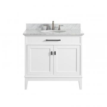 "Avanity Madison 37"" Vanity Combo In White Finish With Carrera White Top"