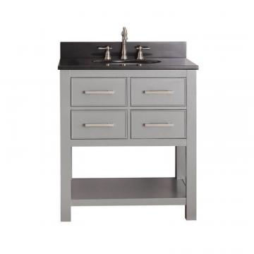 "Avanity Brooks 30"" W Vanity in Chilled Grey Finish with Granite Top in Black"
