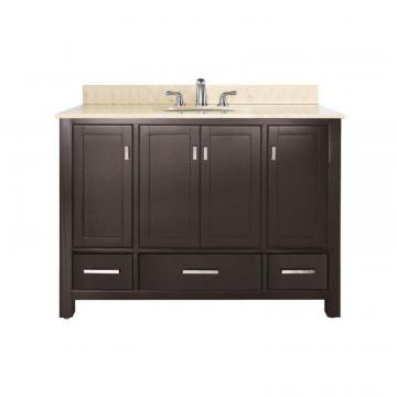 "Avanity Modero 48"" W Vanity with Marble Top in Galala Beige and Espresso Sink"