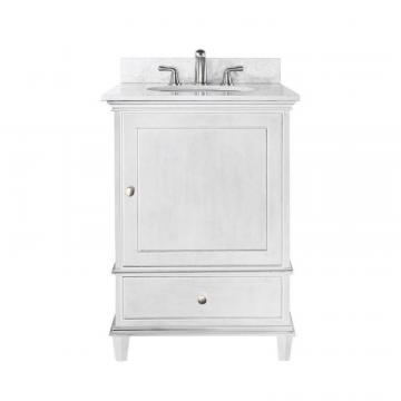 "Avanity Windsor 24"" W Vanity in White Finish with Marble Top in Carrara White"