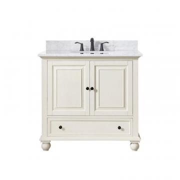 "Avanity Thompson 37"" Vanity Combo In French White Finish With Carrera White Top"