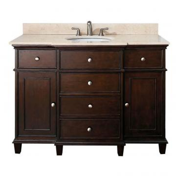 "Avanity Windsor 48"" W Vanity in Walnut Finish with Marble Top in Galala Beige"