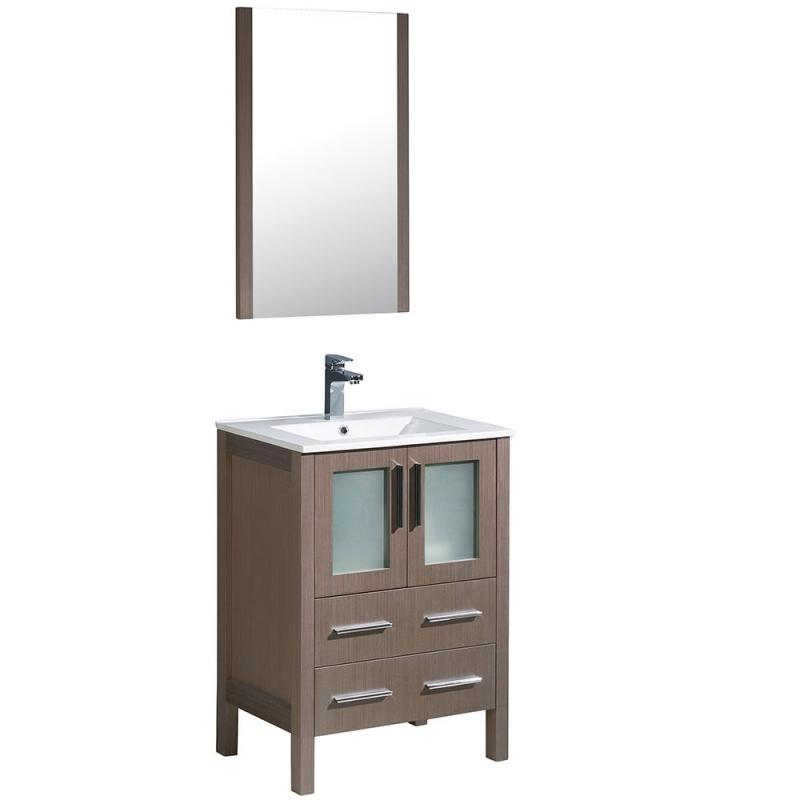 "Fresca Torino 24"" W Vanity in Grey Oak Finish with Integrated Sink and Mirror"