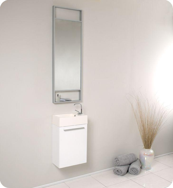 "Fresca Pulito 15 1/2"" W Vanity in White Finish with Tall Mirror"