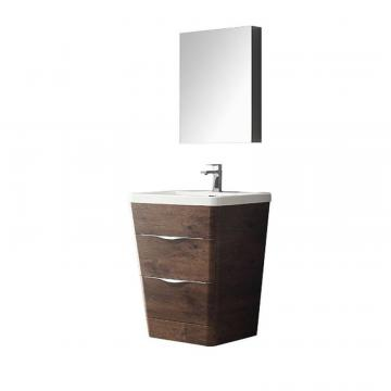 "Fresca Milano 26"" W Vanity in Rosewood Finish with Medicine Cabinet"