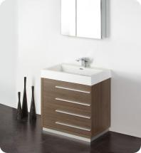 "Fresca Livello 30"" W Vanity in Grey Oak Finish with Medicine Cabinet"