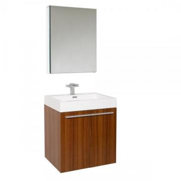 "Fresca Alto 23"" W Vanity in Teak Finish with Medicine Cabinet"