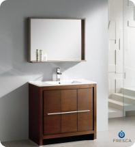 "Fresca Allier 36"" W Vanity in Wenge Brown Finish with Mirror"