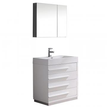 "Fresca Livello 30"" W Vanity in White Finish with Medicine Cabinet"