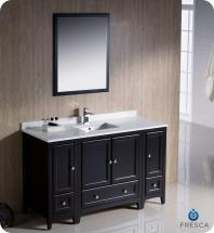"Fresca Oxford 54"" W Vanity in Espresso Finish with Mirror"