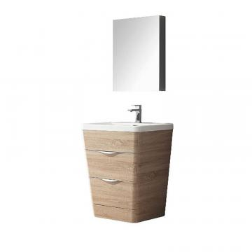 "Fresca Milano 26"" W Vanity in White Oak Finish with Medicine Cabinet"