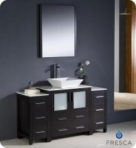 "Fresca Torino 54"" W Vanity in Espresso Finish with 2 Side Cabinets and Vessel Sink"