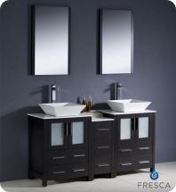 "Fresca Torino 60"" W Double Vanity in Espresso with Side Cabinet and Vessel Sinks"