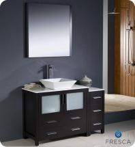 "Fresca Torino 48"" W Vanity in Espresso Finish with Side Cabinet and Vessel Sink"