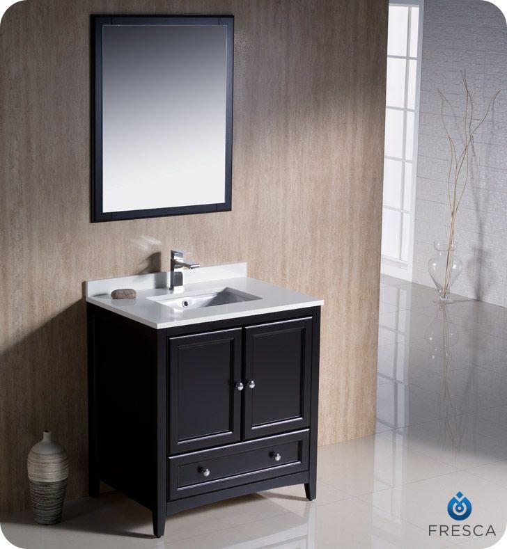 "Fresca Oxford 30"" W Vanity in Espresso Finish with Mirror"