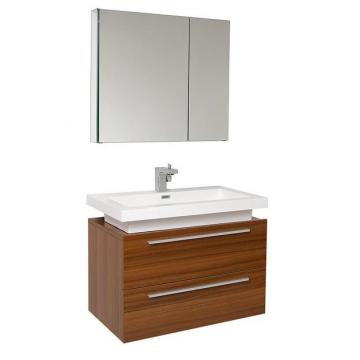 "Fresca Medio 31 1/4"" W Vanity in Teak Finish with Medicine Cabinet"