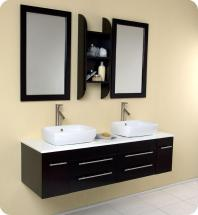 "Fresca Bellezza 59"" W Double Sink Vanity in Espresso Finish with Mirror"