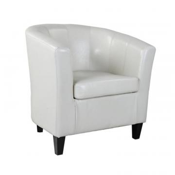 Corliving Antonio Tub Chair In Creamy White Bonded Leather