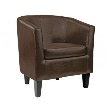 Corliving Antonio Tub Chair In Dark Brown Bonded Leather