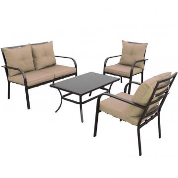 Corliving 4-Piece Speckled Brown and Taupe Patio Conversation Set