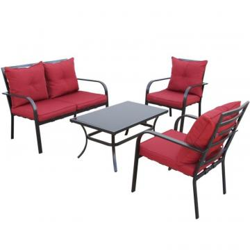 Corliving 4pc Charcoal Black and Red Patio Conversation Set