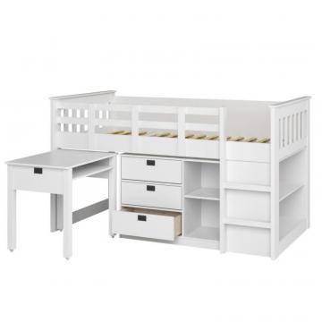 Corliving Madison 4pc All-In-One Single/Twin Loft Bed In Snow White
