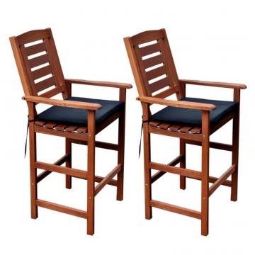 Corliving PEX-263-C Miramar Cinnamon Brown Hardwood Outdoor Bar Height Chairs, Set of 2