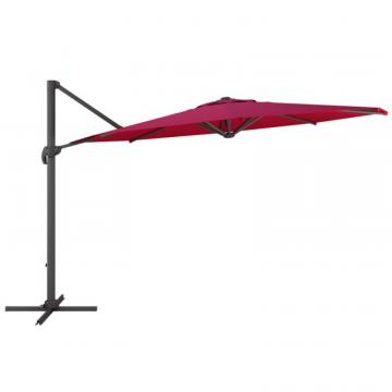Corliving Deluxe Offset Patio Umbrella in Wine Red