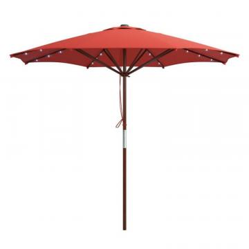 Corliving Red Patio Umbrella with Solar Power LED Lights